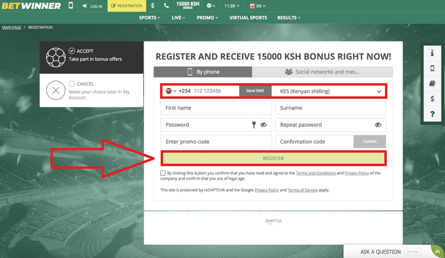 Betwinner registro requirements
